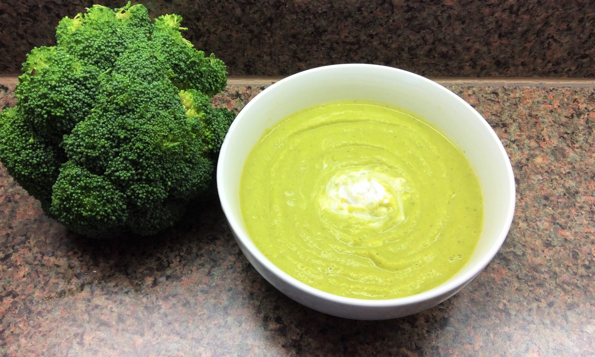 a bowl of creamy broccoli soup recipe