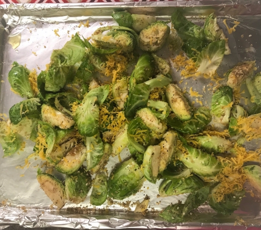 garlic and cheddar roasted brussel sprouts