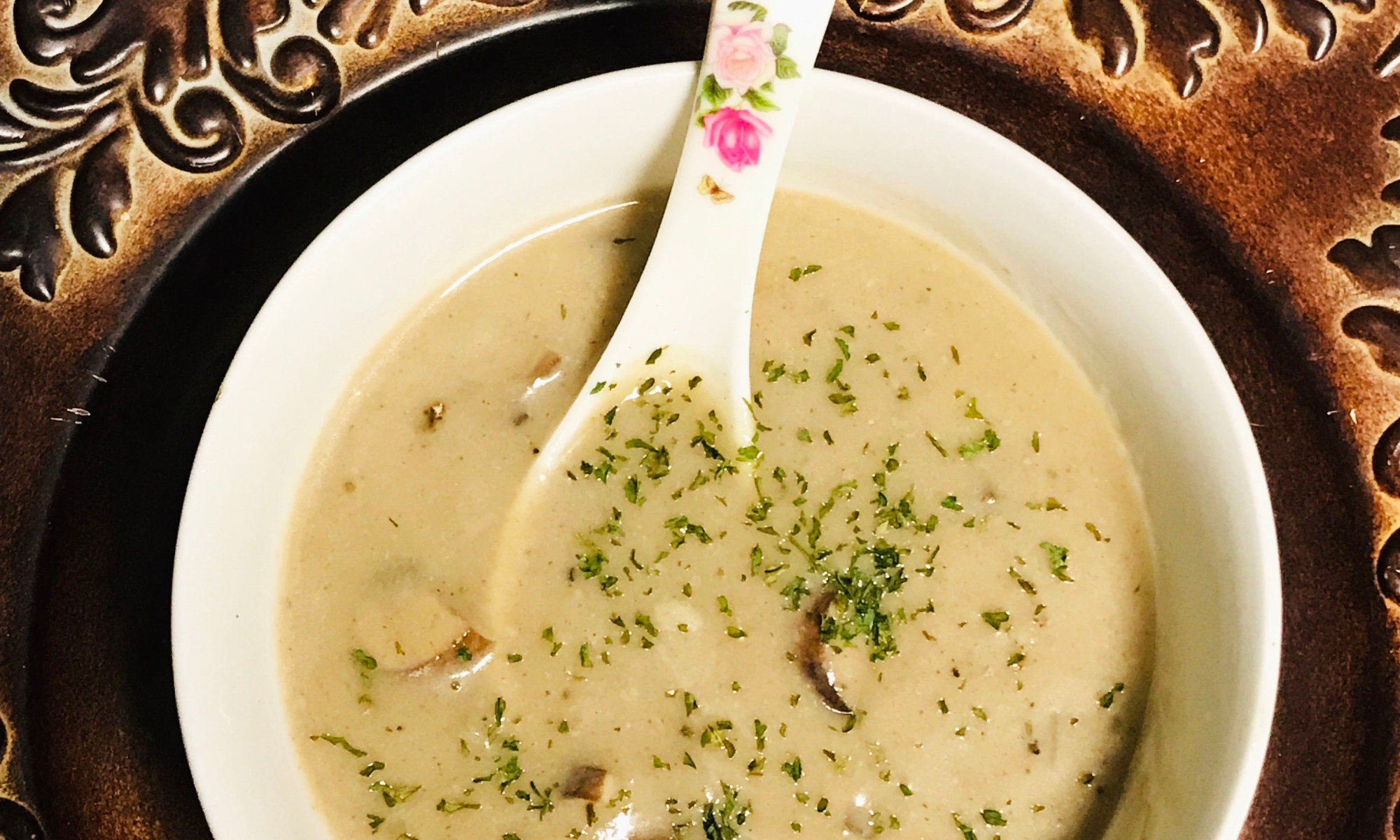 A bowl of vegan cream of mushroom soup
