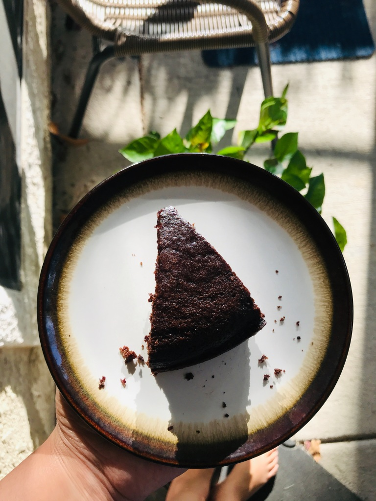 A slice of chocolate vegan cake recipe