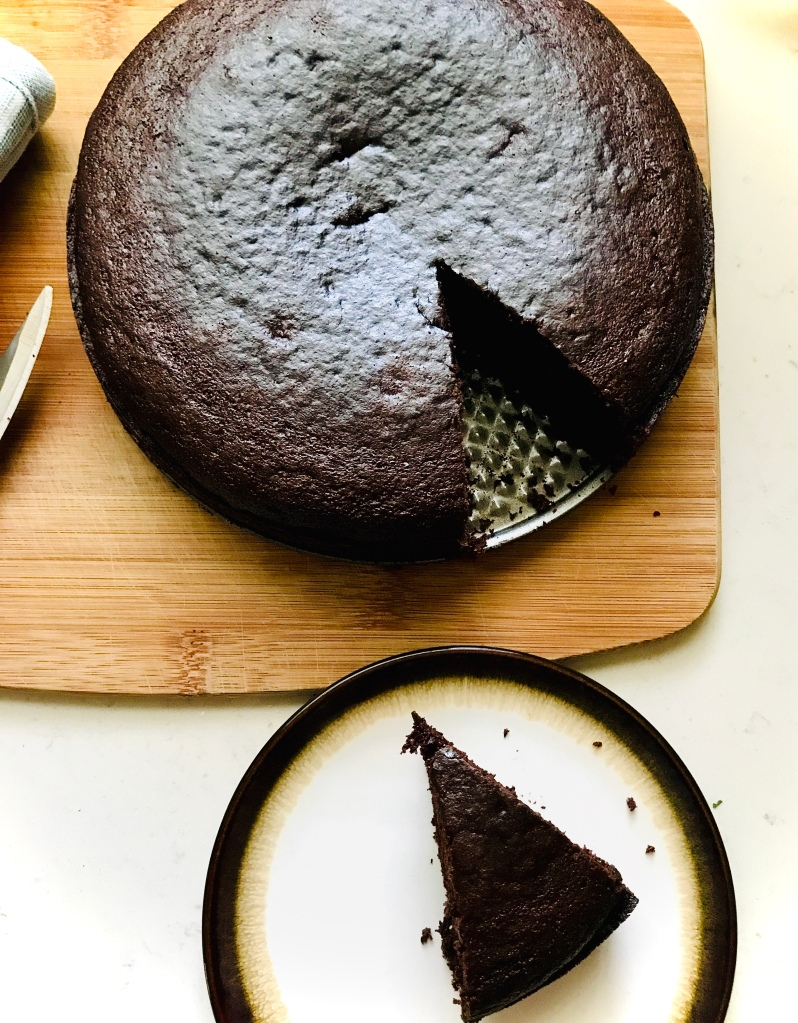 Vegan Chocolate sponge cake recipe in a 8 inch cake pan