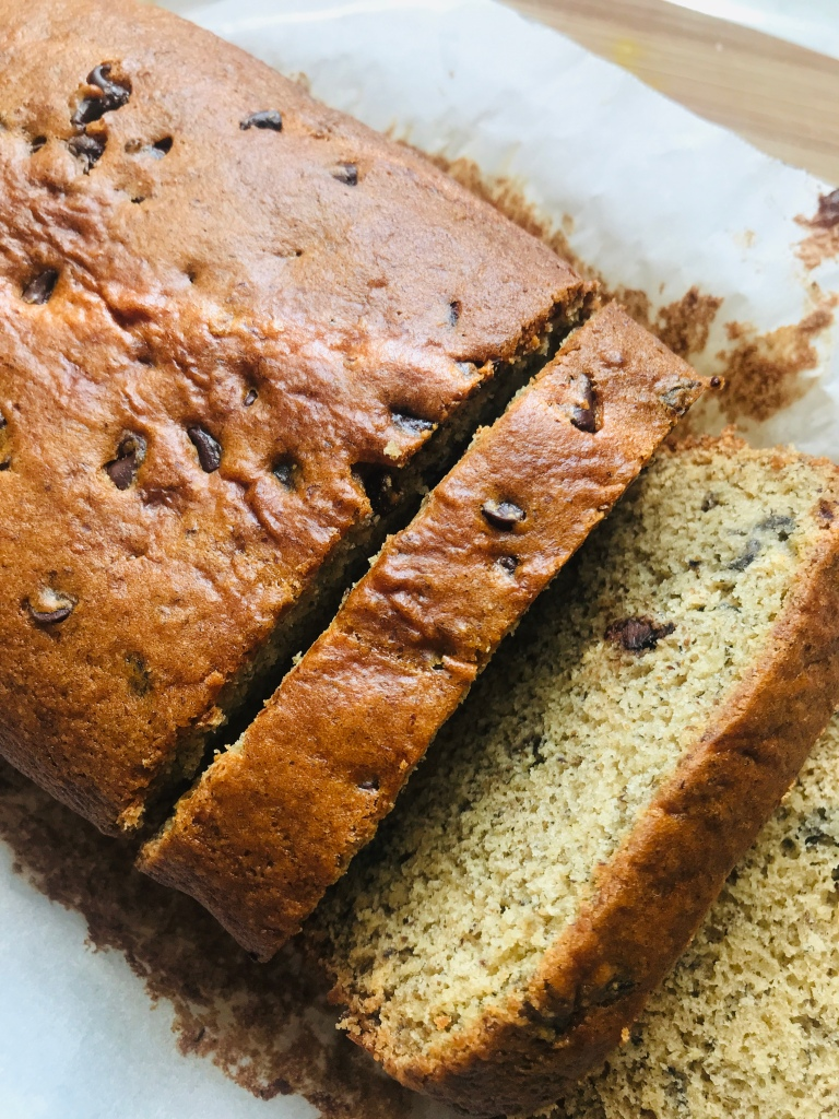 slices of vegan chocolate chip banana bread