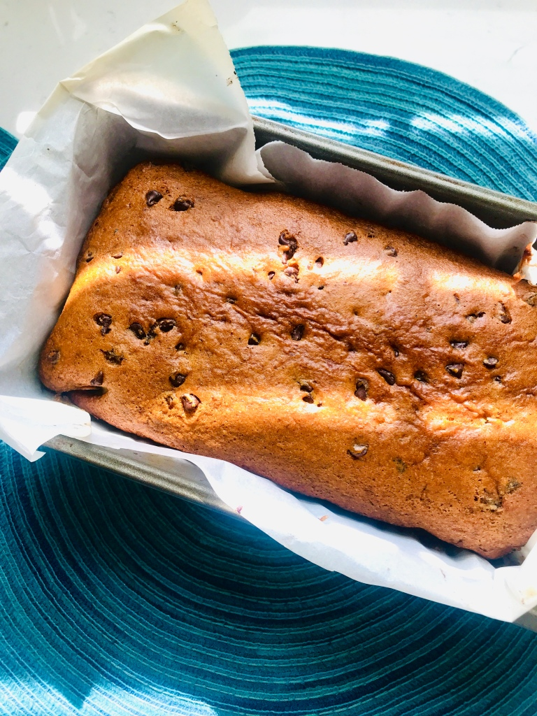 Vegan Banana bread with chocolate chips out of the oven