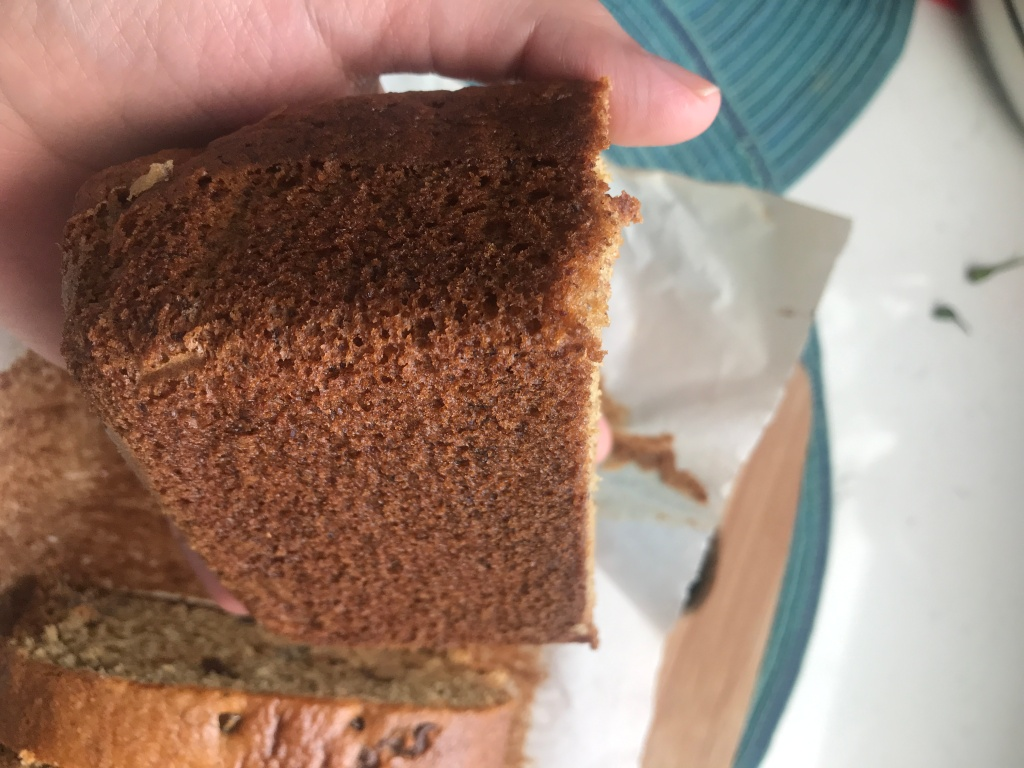 the perfect bottom of a vegan banana bread
