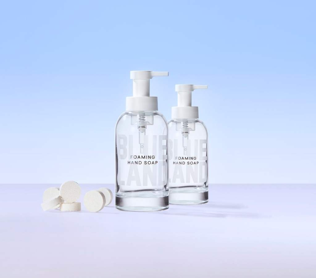 Foaming hand soap glass bottles from Blueland