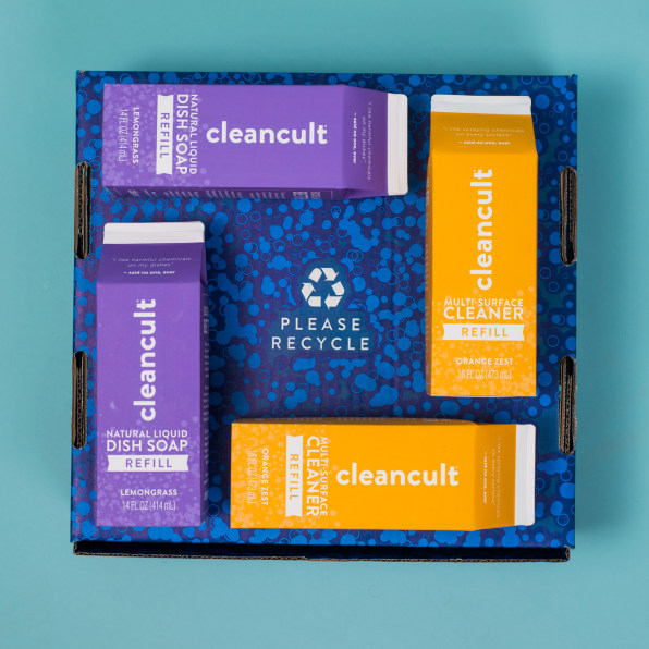 A set of non-toxic soap refill packets from Cleancult