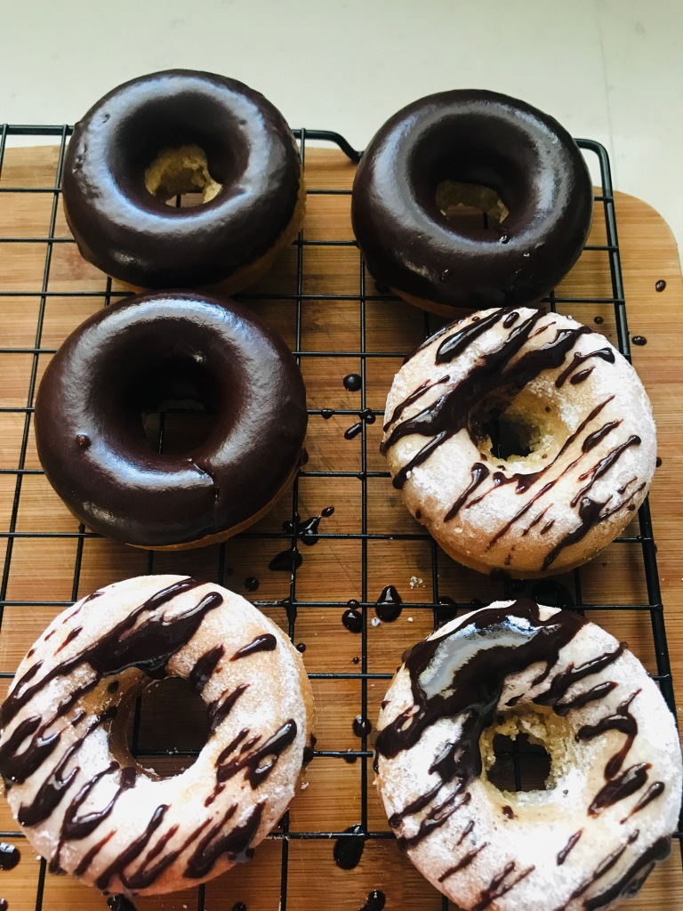 Baked Vegan Donuts with chocolate glaze